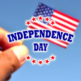 Independence Day usa banner with american flag Stock Photos