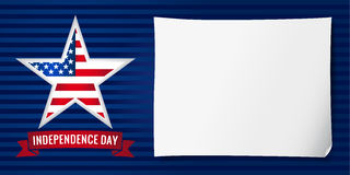 Independence day USA banner star. Happy Independence day USA vector background template with star in national flag colors and the sheet of paper . 4th of July stock illustration