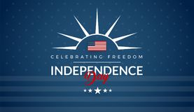 Independence Day USA blue background for greeting card, banner,. Social media advertising, 4th of July sale, event, party - vector illustration Royalty Free Illustration