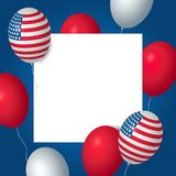 Independence day USA celebration banner template with american balloons flag decor. 4th of July holiday poster template. Fourth of