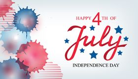Independence day USA celebration banner template with american flag decor and abstract watercolor splash background in red and. Blue colours. 4th of July vector illustration