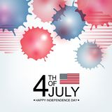 Independence day USA celebration banner template with american flag decor and abstract watercolor splash background in. Red and blue colours. 4th of July royalty free illustration