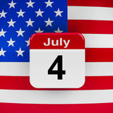 Independence Day 2. USA flag with calendar button - The Fourth of July - represents the Independence day, three-dimensional rendering, 3D illustration Stock Illustration