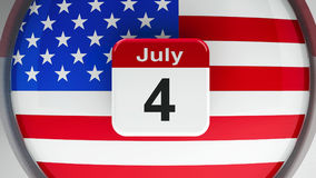 Independence Day 3. USA flag with calendar button - The Fourth of July - represents the Independence day, three-dimensional rendering, 3D illustration royalty free illustration