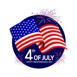 Independence day with USA flags and fireworks celebration. Happy 4th of July. Illustration isolated on white background Stock Photography