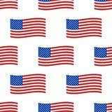 Independence day USA flags seamless pattern United States american symbol freedom national sign vector illustration. Wavy patriotic banner shape celebration royalty free illustration