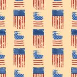 Independence day USA flags seamless pattern United States american symbol freedom national sign vector illustration Stock Photo