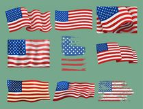Independence day USA flags United States american symbol freedom national sign vector illustration Royalty Free Stock Images