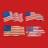 Independence day USA flags United States american symbol freedom national sign vector illustration Royalty Free Stock Photos