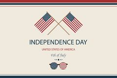 Independence day USA. Fourth of July. American patriotic illustration. Design Template background with American Flag for. Greeting cards, posters, flye, banner Stock Illustration