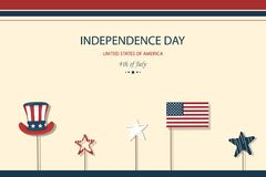 Independence day USA. Fourth of July. American patriotic illustration. Design Template background with American Flag for. Greeting cards, posters, flye, banner Vector Illustration