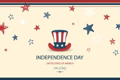 Independence day USA. Fourth of July. American patriotic illustration. Design Template background with Patriotic Uncle. Sam Hat for greeting cards, posters Royalty Free Illustration