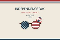 Independence day USA. Fourth of July. American patriotic illustration. Design Template background with Patriotic Uncle. Sam Hat for greeting cards, posters Vector Illustration