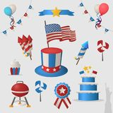 Independence day of USA icon set. Color logotypes. Independence day of USA icon set. Color logotypes on bright background Royalty Free Stock Images