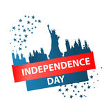 Independence day usa, . Illustration design. The inscription: Independence Day . New York City and Statue of Liberty on a white background with blue stars. Logo Royalty Free Stock Image