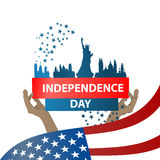 Independence day usa, . Illustration design. The inscription: Independence Day . New York City and Statue of Liberty on a white background with blue stars. Keep Royalty Free Stock Photo
