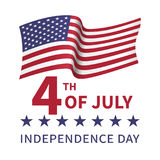 Independence Day of the USA on July 4 design. Fourth of July, United Stated independence day poster with the flying flag of the USA. Usable for greeting cards Stock Photography