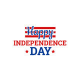 Independence Day in USA, July 4th. Greeting card or banner template,  design element. Badge with text, red stars and colorful stripes Stock Photos