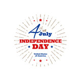 Independence Day in USA, July 4th. Greeting card or banner template,  design element. Badge with text, red stars, sunbirst and colorful stripes Stock Image