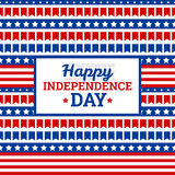 Independence Day in USA, July 4th. Greeting card or banner template,  design element. Pattern of small flags, white stars and colorful stripes, symbol of USA Stock Image