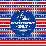 Independence Day in USA, July 4th. Greeting card or banner template,  design element. Pattern of small flags, white stars and colorful stripes, symbol of USA Royalty Free Stock Image