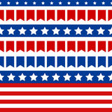 Independence Day in USA, July 4th. Seamless pattern of small flags, white stars and colorful stripes, symbol of USA national flag. Tileable  background Stock Images