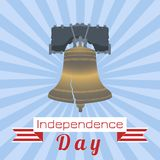 Independence Day of the USA. Liberty Bell. Tape, event name. Independence Day of the USA. 4th of July. Concept of holiday. Liberty Bell. Tape, event name, rays stock illustration