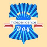 Independence Day of the USA. Liberty Bell. Tape, event name. Independence Day of the USA. 4th of July. Concept of holiday. Liberty Bell. Tape, event name, rays royalty free illustration