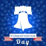 Independence Day of the USA. Liberty Bell. Tape, event name. Independence Day of the USA. 4th of July. Concept of holiday. Liberty Bell. Tape, event name, rays Stock Photos