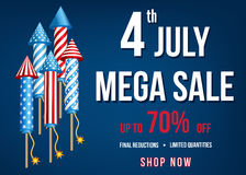 Independence  Day of  the USA   mega  sale banner. Independence  Day of the USA. 4th of July  mega  sale banner  with  firework  rockets  on blue background. Up Stock Photos