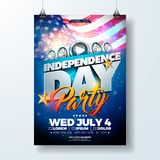 Independence Day of the USA Party Flyer Illustration with Flag and Ribbon. Vector Fourth of July Design on Dark. Independence Day of the USA Party Flyer vector illustration