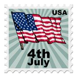 Independence day of USA. Post stamp of national day of United States of America Stock Images