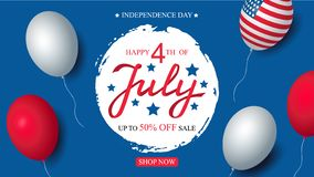 Independence day USA sale celebration banner template american balloons flag decor. 4th of July holiday poster template. Fourth of july poster. Vector royalty free illustration