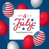 Independence day USA sale celebration banner template american balloons flag decor. 4th of July holiday poster template