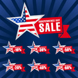 Independence day USA sale logotypes. Royalty Free Stock Photo