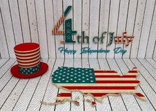 Independence day of the usa 4th july. Happy independence day - 3D Render Royalty Free Illustration