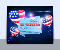 Independence day of the USA typographical. Background. Shining balloons and place for text royalty free illustration