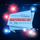 Independence day of the USA typographical. Background. Shining fireworks with paper ribbon and place for text. Vector illustration Stock Images