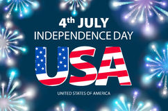 Independence day of the USA typographical background. Shining fireworks and place for text. vector Royalty Free Stock Photos