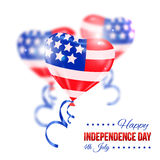 Independence day of the USA typographical. Background. Shining realistic balloons and place for text vector illustration