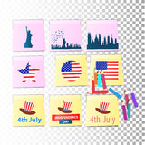 Independence day usa, vector. Illustration design. The pages of the notebook are yellow. Stickers with pencils. Logo. Hat, city silhouette, flag stock illustration