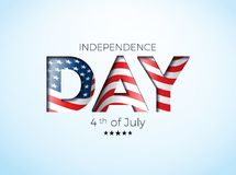 Independence Day of the USA Vector Illustration with Flag in Cutting Lettering. Fourth of July Design on Light. Background for Banner, Greeting Card, Invitation Vector Illustration