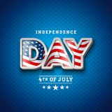 Independence Day of the USA Vector Illustration with Flag in 3d Lettering. Fourth of July Design on Light Background for. Banner, Greeting Card, Invitation or Royalty Free Illustration