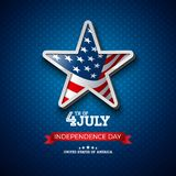 Independence Day of the USA Vector Illustration with Flag in 3d Star. Fourth of July Design on Light Background for. Banner, Greeting Card, Invitation or Vector Illustration
