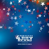 Independence Day of the USA Vector Illustration. Fourth of July Design with Falling Color Star and Typography elements. On Blue Background for Banner, Greeting Vector Illustration