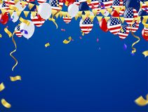 Independence day vector background with american flag and balloo. Ns, background. ,4th july independence day card vector illustration