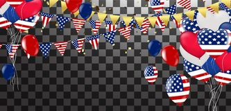 Independence day vector background with american flag and balloo. Ns, background. , 4th july independence day card Royalty Free Illustration