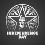 Independence day. Vector chalk drawing on textured blackboard Stock Photos