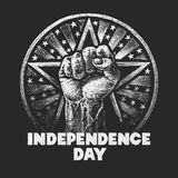 Independence day. Vector chalk drawing on textured blackboard Royalty Free Stock Images