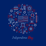 Independence Day vector concept. A set of design elements and icons for design kit in traditional American colors - red, white, blue. Happy independence day Stock Image